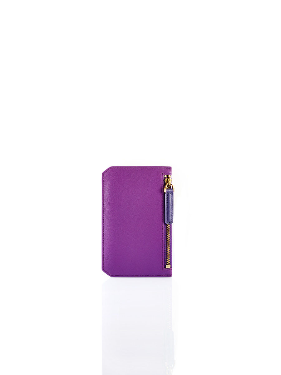 W Bicolour Leather Card Holder with Zip