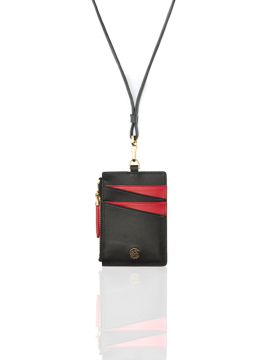 W Bicolour Card Holder with Lanyard and Zip
