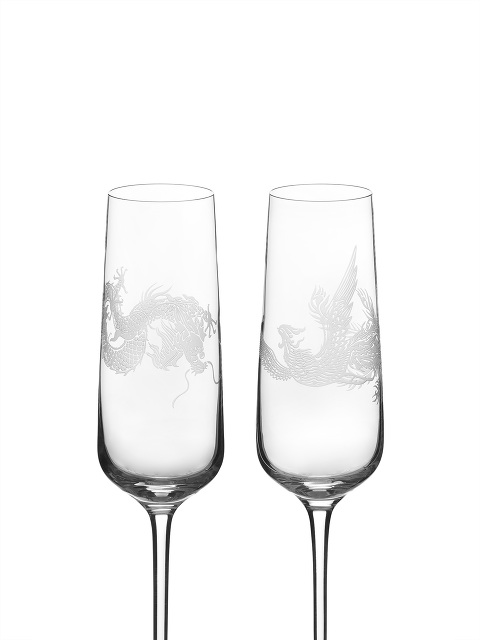 Dragon and Phoenix Champagne Flute Set of 2