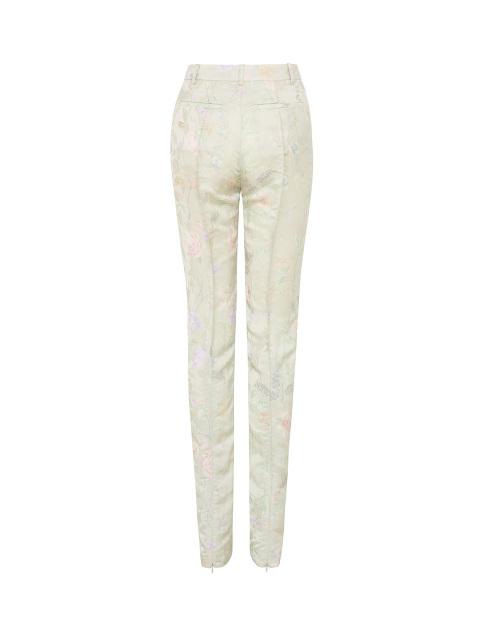 Yuni Ahn for Shanghai Tang Floral Jacquard Print Zip Skinny Pants