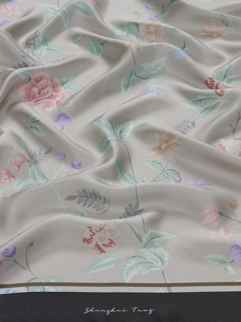 Yuni Ahn for Shanghai Tang Silk Twill Floral Print Foulard 90