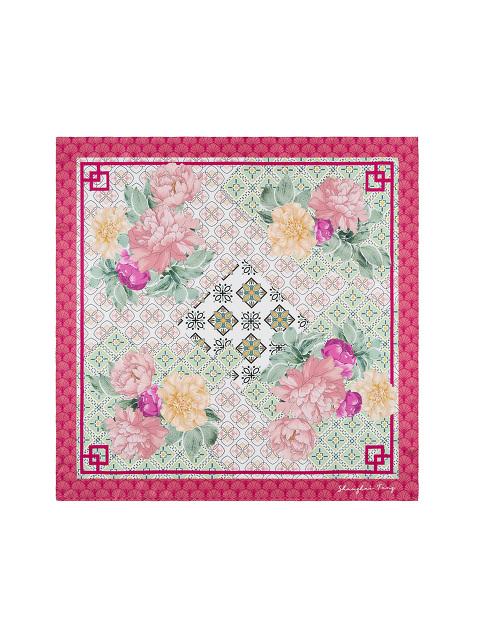 Peony Floral and Geometric Lattice Print Silk Foulard 90