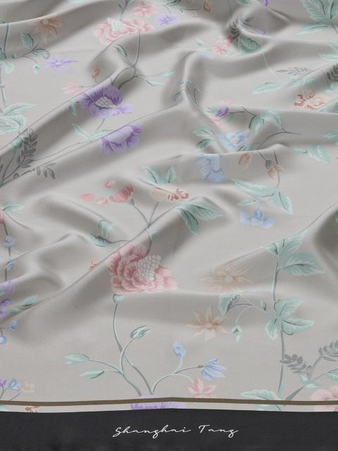 Yuni Ahn for Shanghai Tang Silk Twill Floral Print Foulard 130