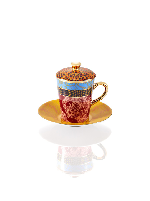 Vivid Dragon Fine Bone China Espresso Cup and Saucer Set with Lid