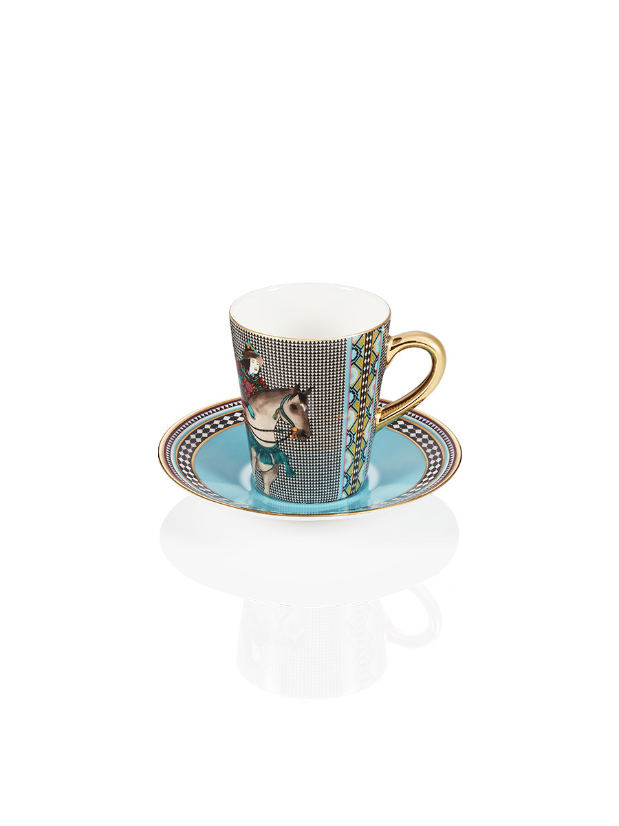 Mongolian Nomad Fine Bone China Espresso Cup and Saucer Set