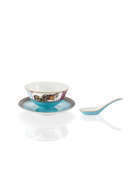 Mongolian Nomad Fine Bone China Bowl and Spoon Set