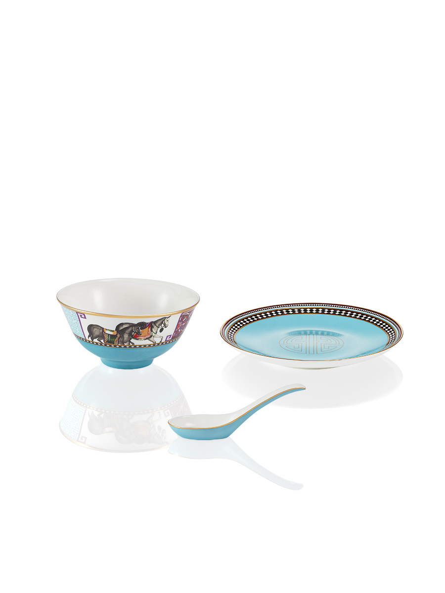 Mongolian Nomad Fine Bone China Bowl & Spoon Set