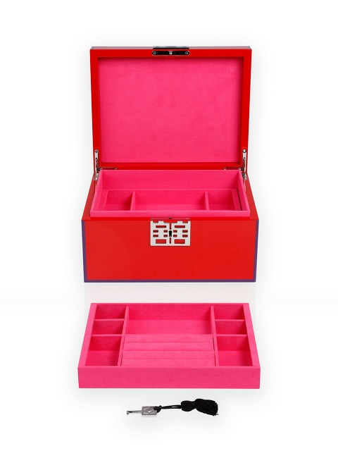 Double Happiness Lacquer Jewellery Box with Lock – Large