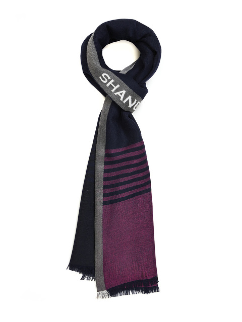 Vertical Logo Stripe Wool-silk Scarf