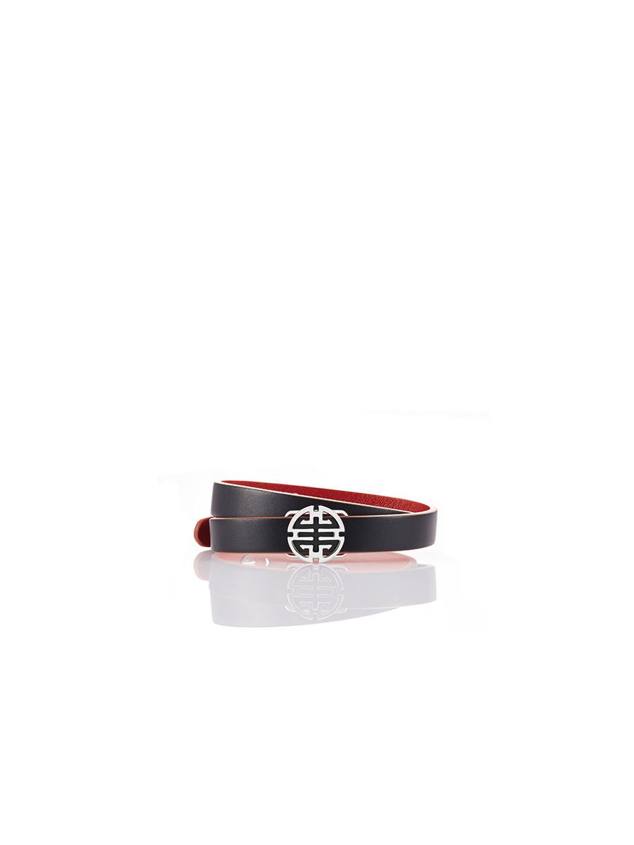 Shou Leather Silver Bracelet