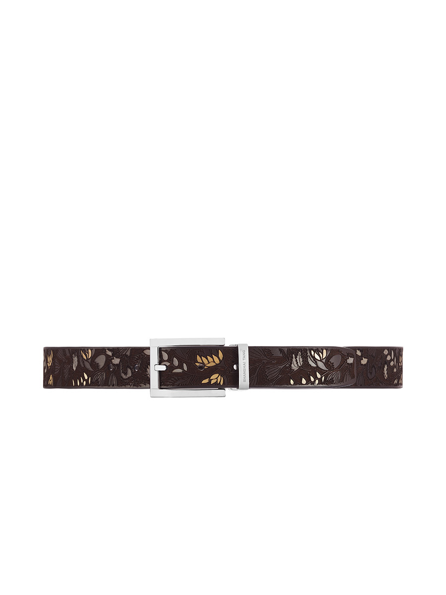Reversible Square Buckle Belt With Silver Leaves