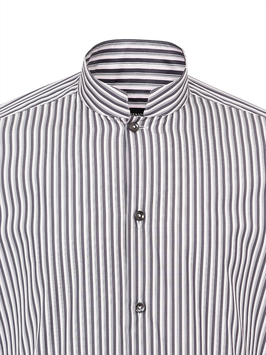 Mayfair Striped Mandarin Collar Shirt