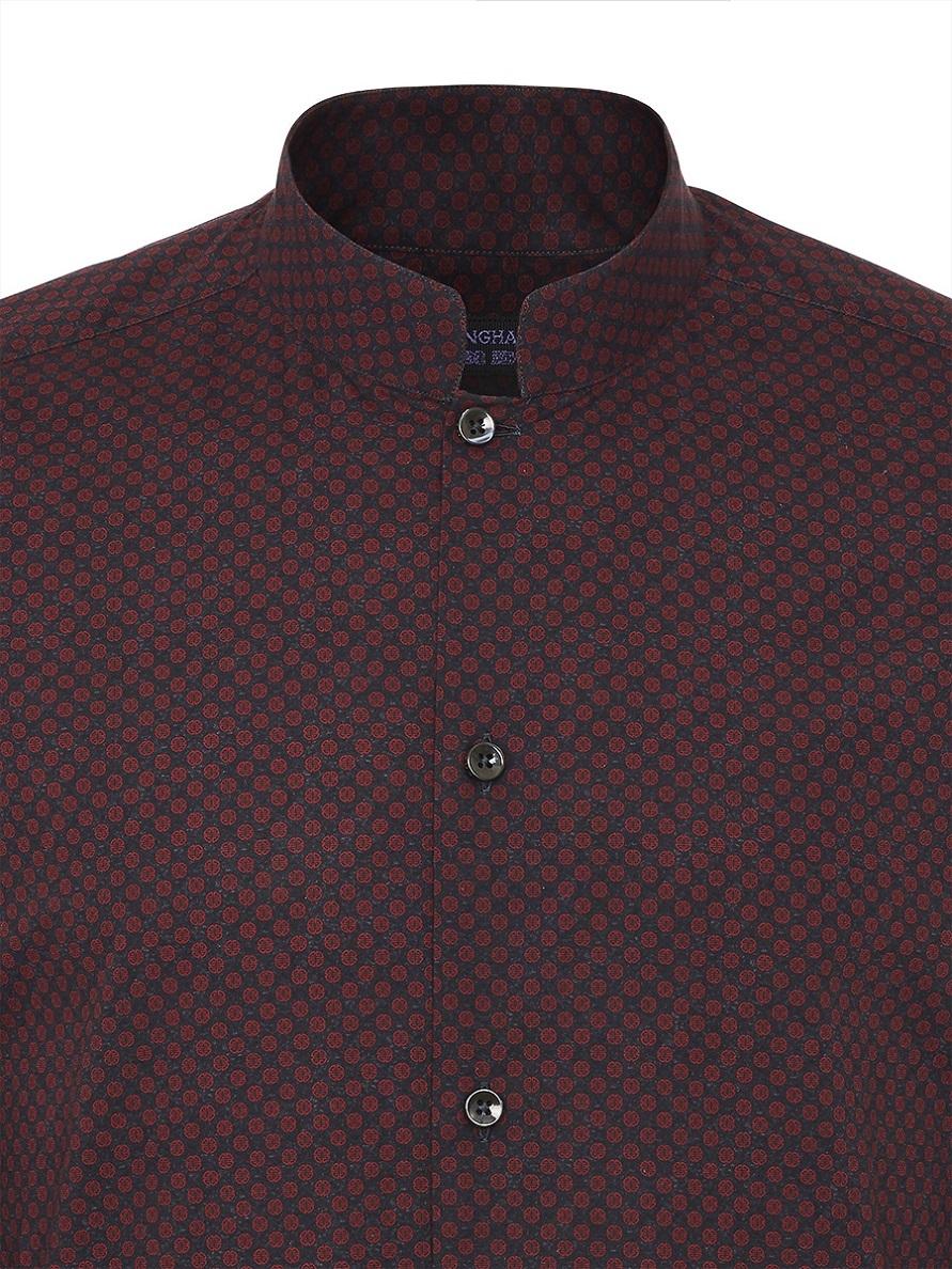 Shou Printed Mandarin Collar Shirt