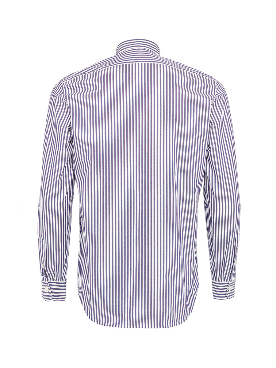 Striped Western Collar Shirt With Embroidery