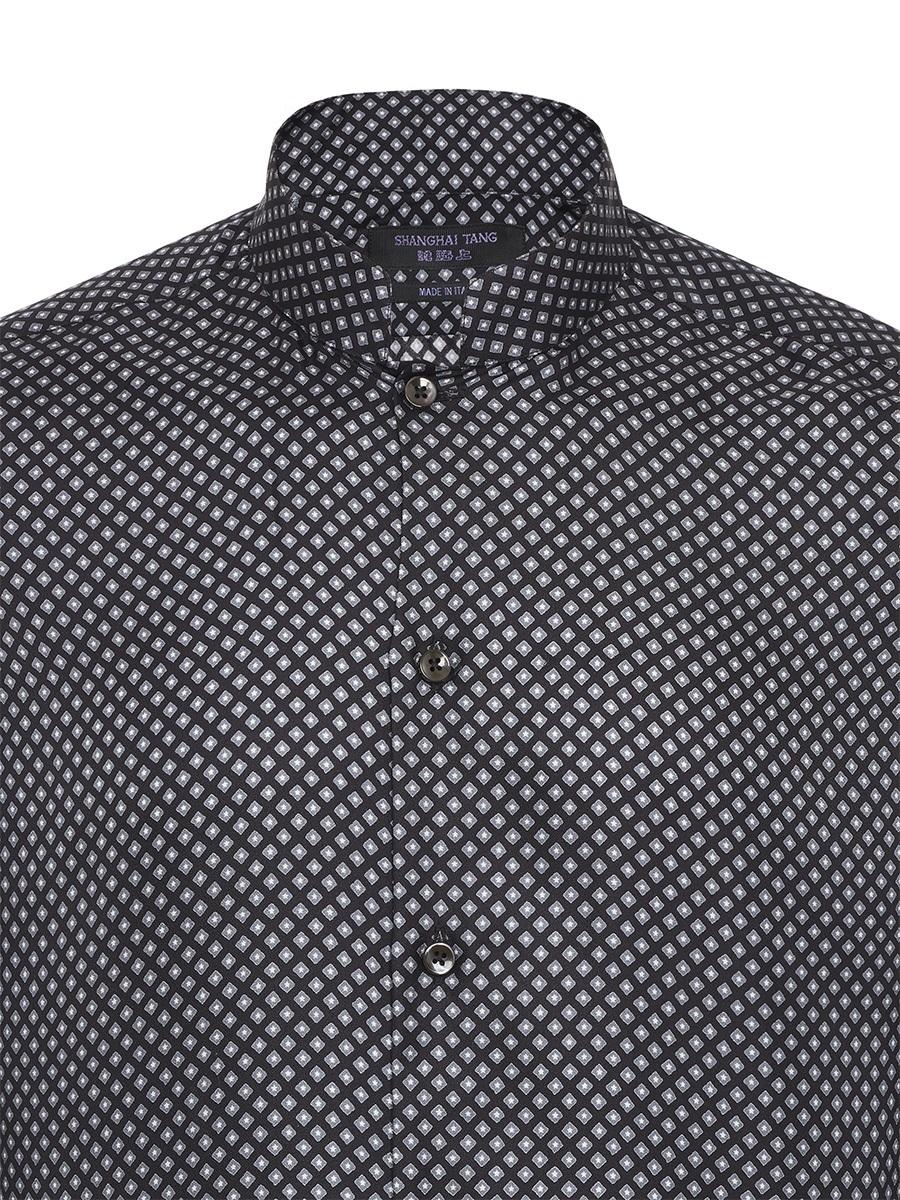 Silk Printed Mandarin Collar Shirt