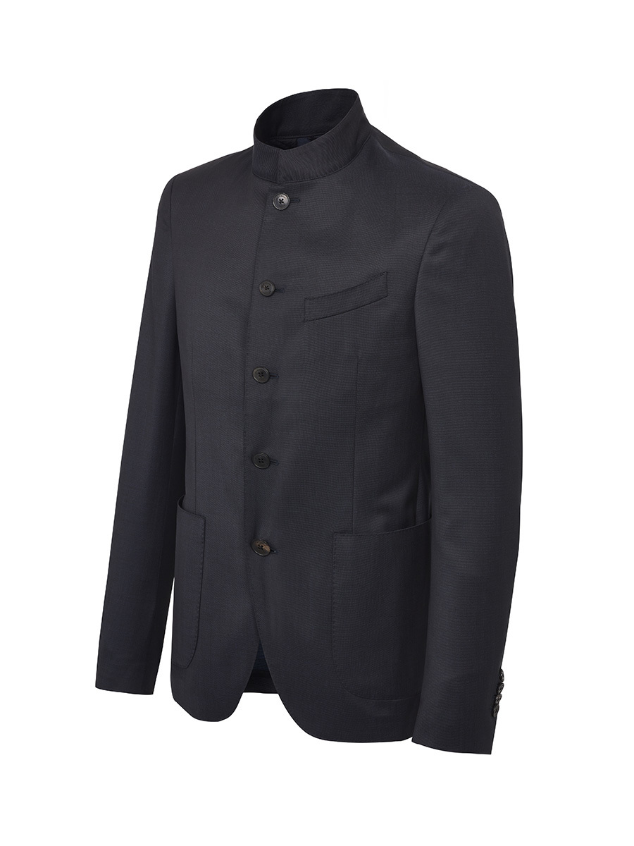 Five Buttons Mandarin Collar Jacket
