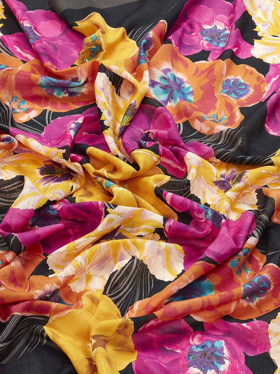 Flower Wool Silk Shawl