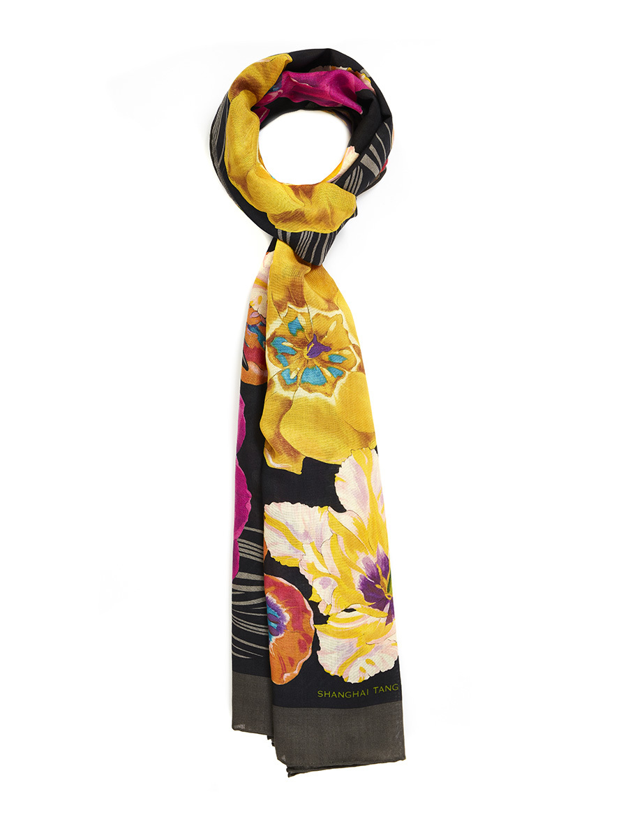 Flower Wool Silk Scarf