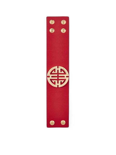 Shou Gold And Leather Bracelet