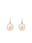 Shou Round Earrings With Faux Pearls