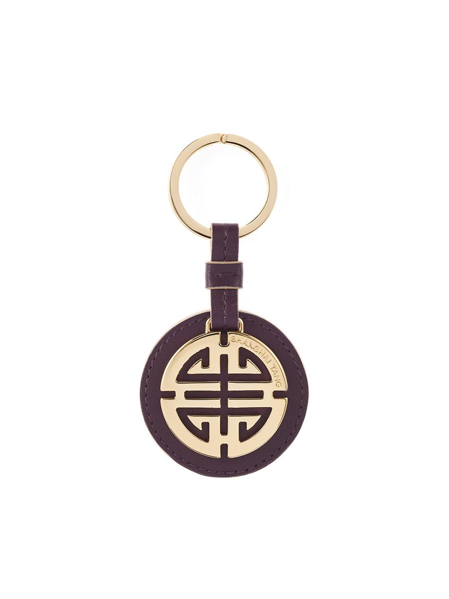 Shou Leather Gold Keychain