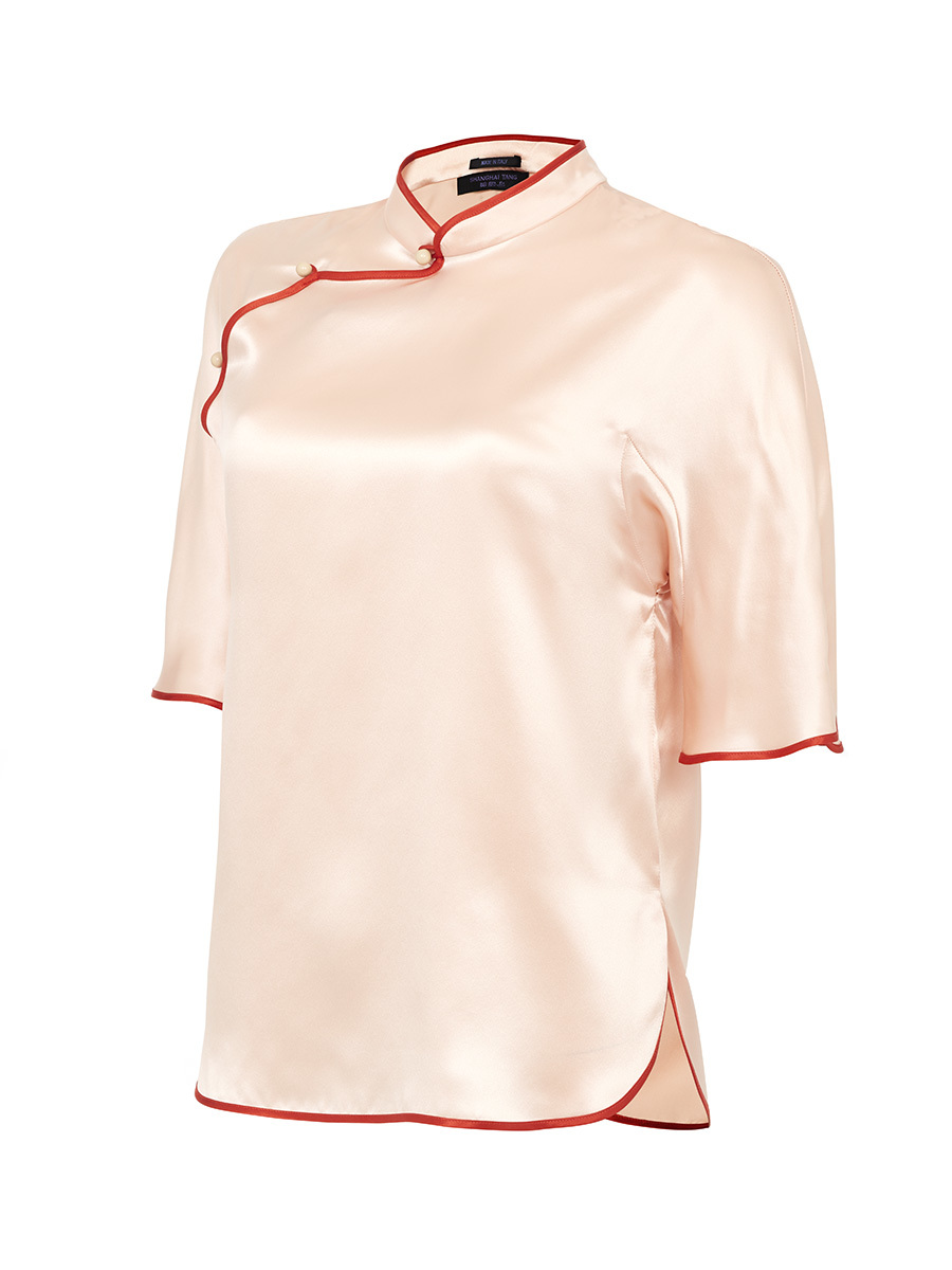 Mandarin Collar Short Sleeve Blouse
