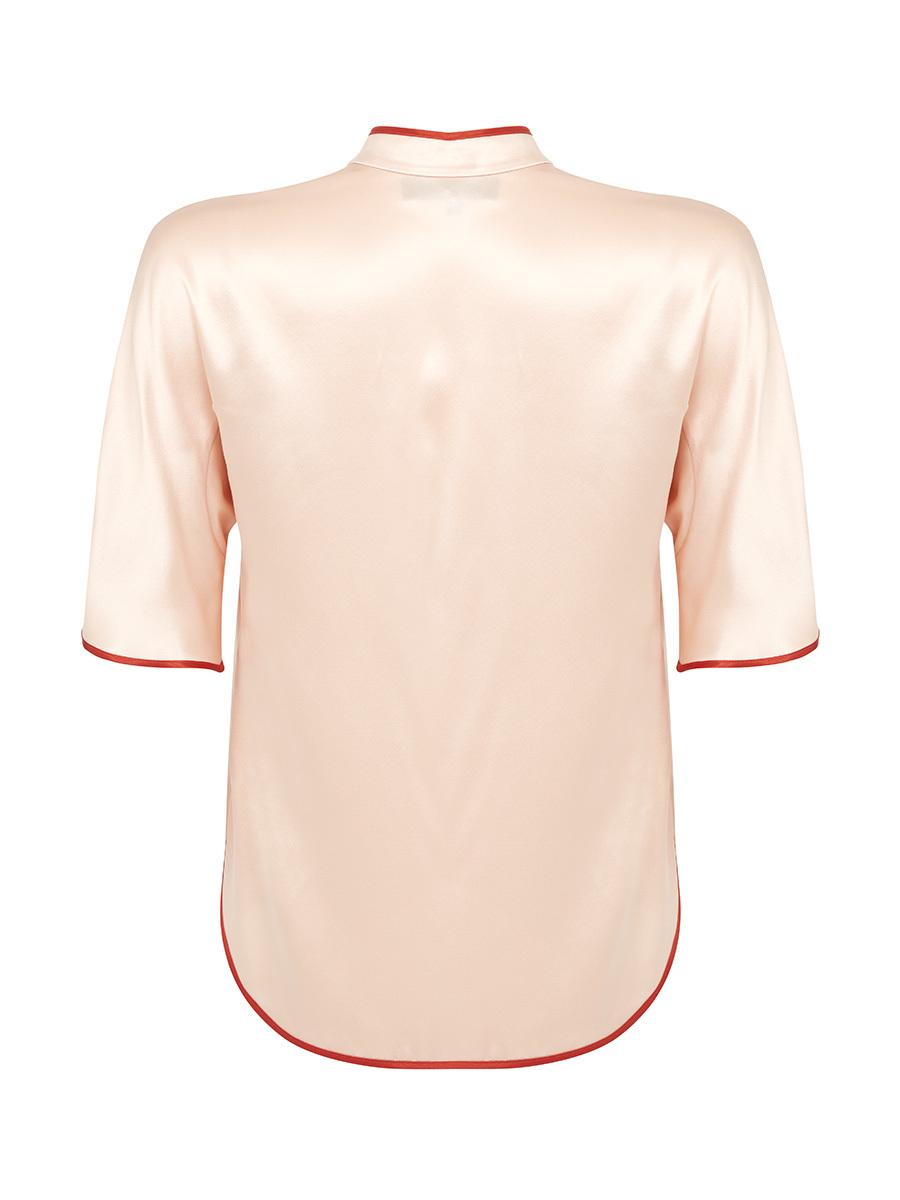 Mandarin Collar Short Sleeve Blouse