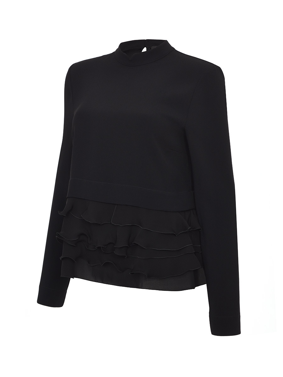 Mandarin Collar Blouse With Ruche