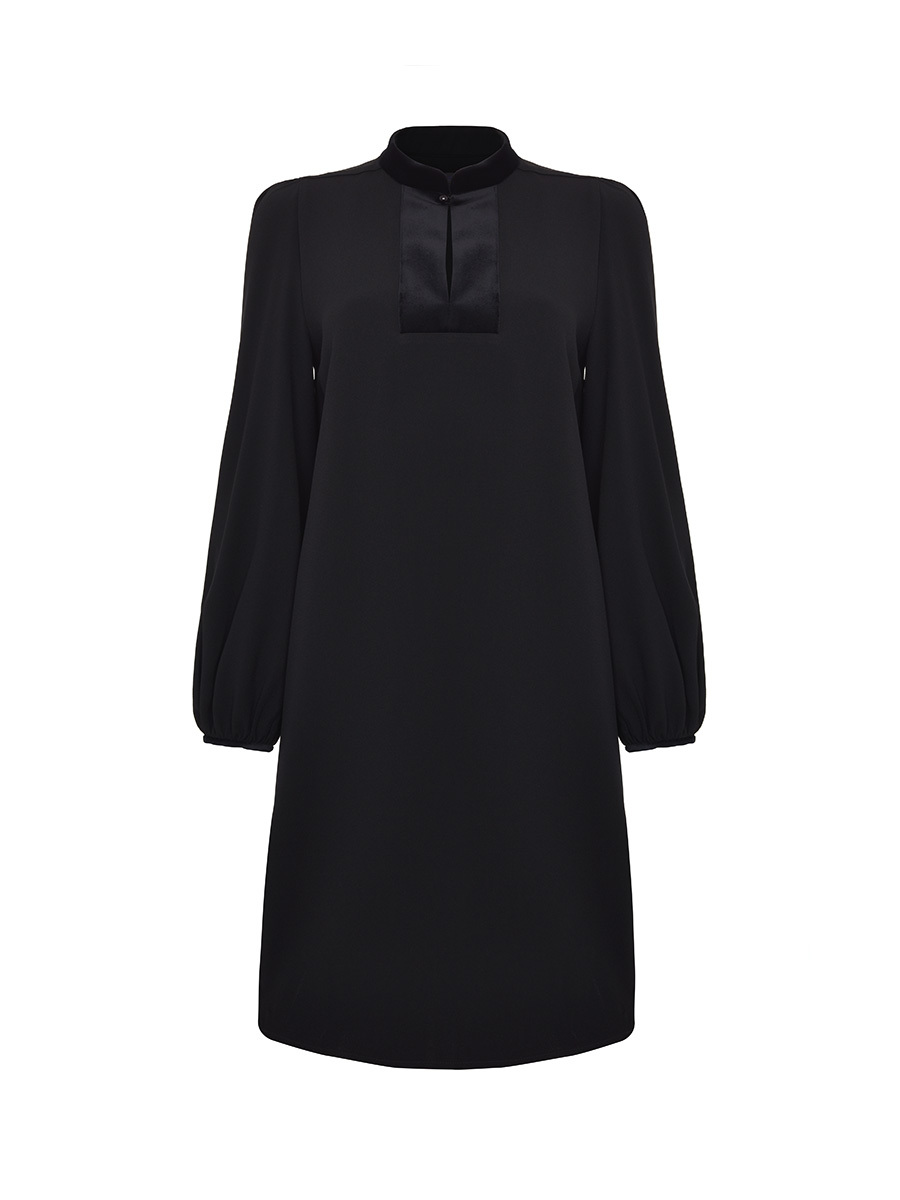 Mandarin Collar Boxy Dress