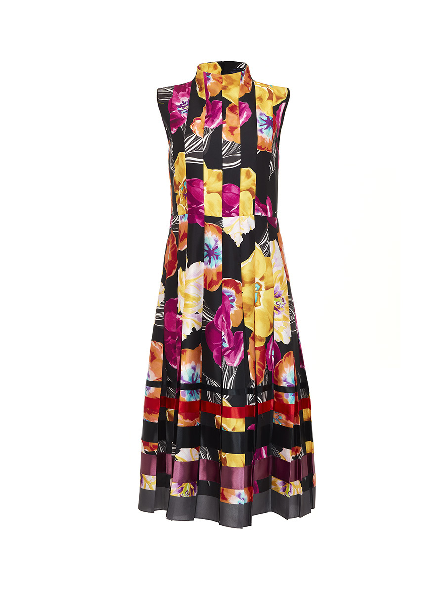 Long Dress Pleated Flower Print