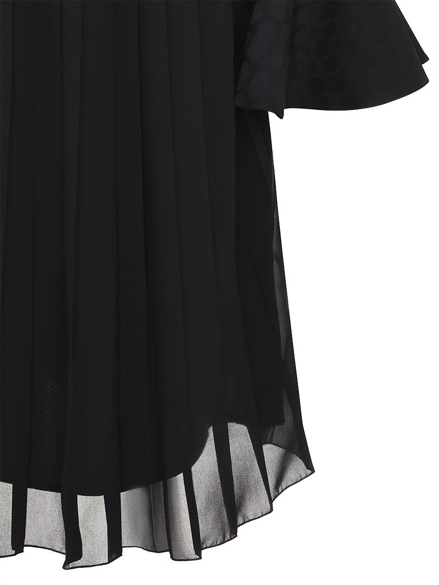 Mandarin Collar Dress With Chiffon Pleated Back