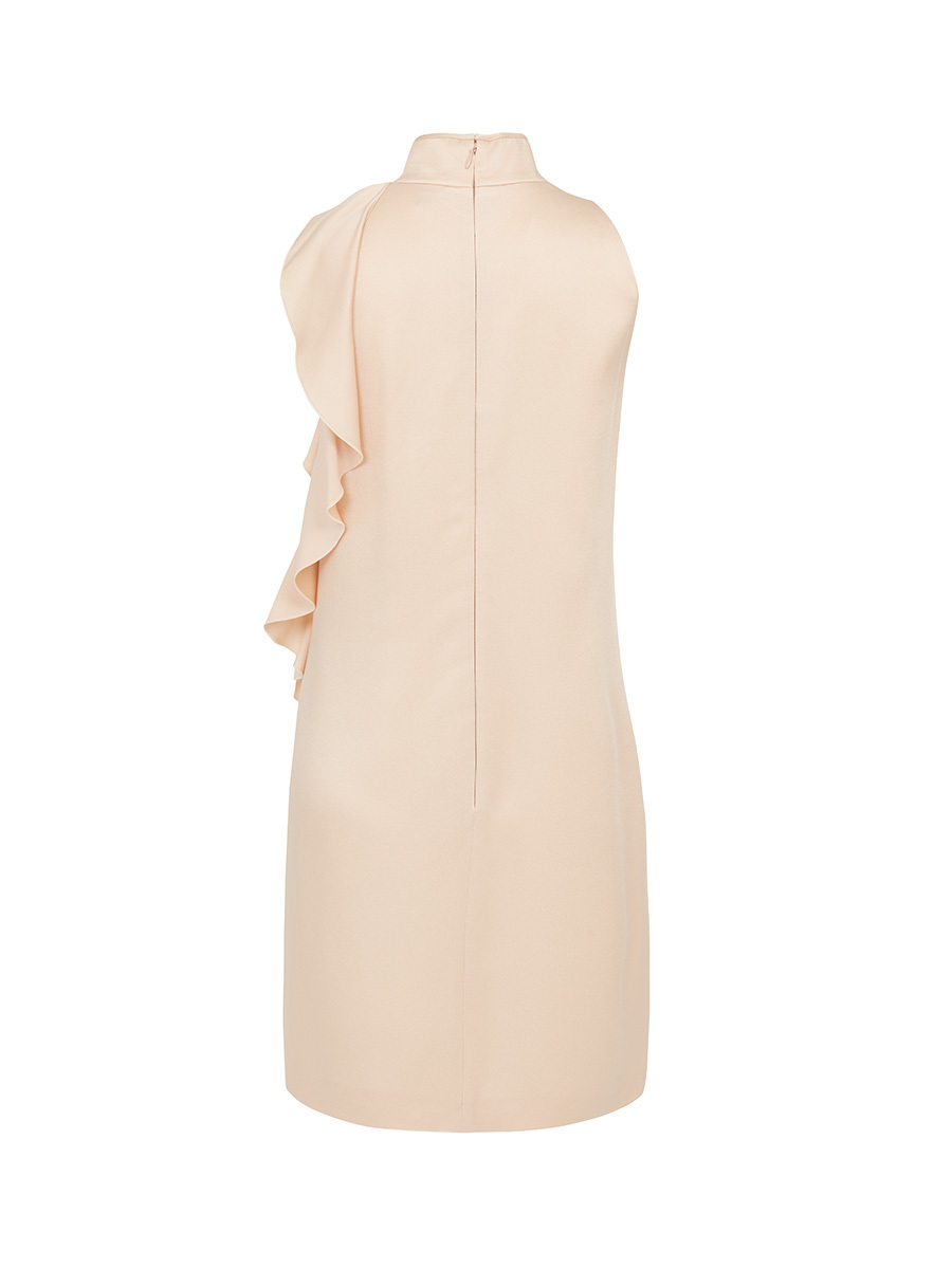 Mandarin Collar Short Dress With Lateral Volant