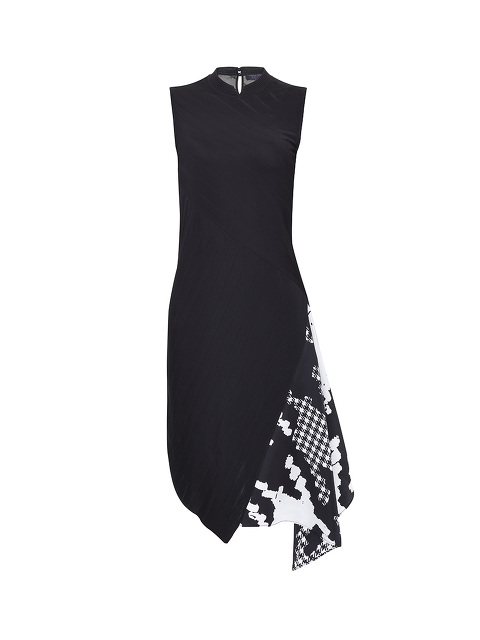 Knitted Dress With Silk Houndstooth