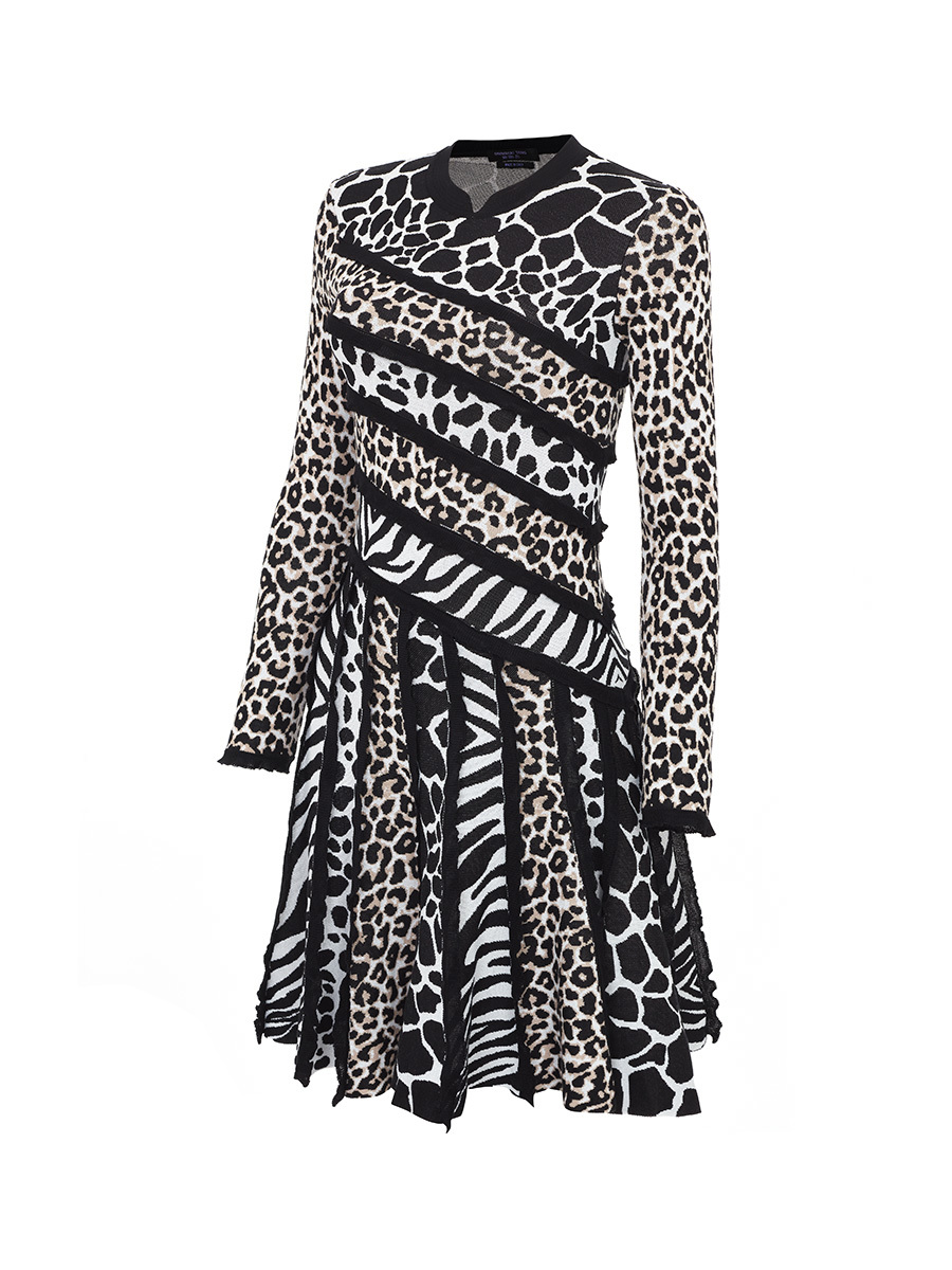 Patchwork Animalier Knit Dress
