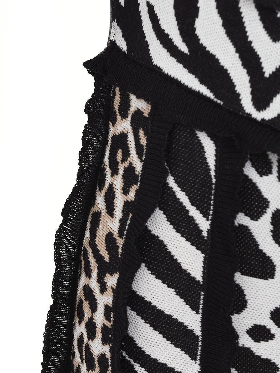 Patchwork Animalier Knit Dress