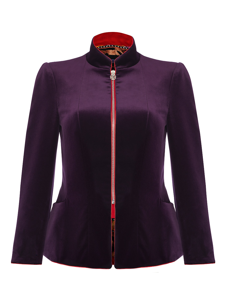 Mandarin Collar Velvet Jacket Full Zip