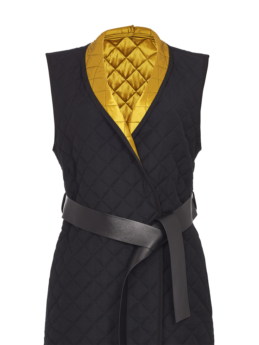Quilted Vest With Leather Belt