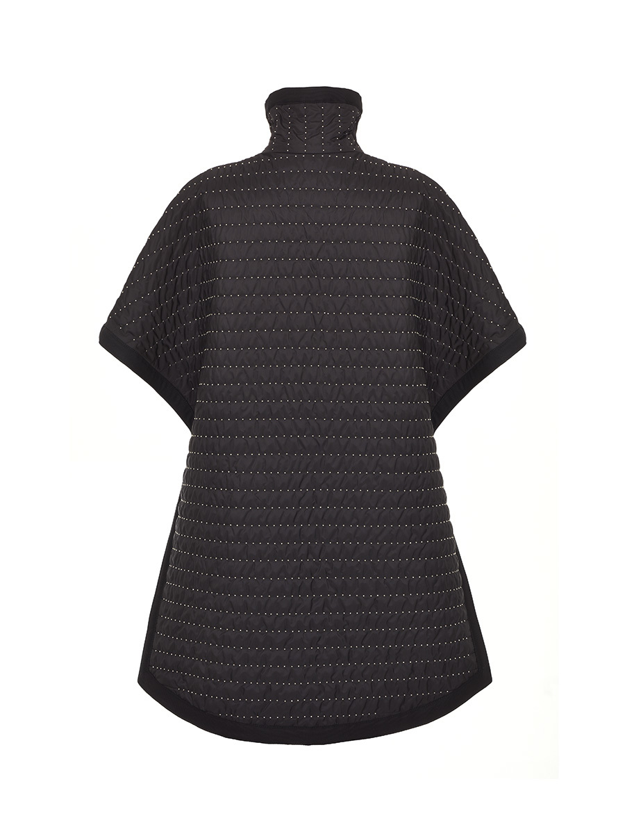 Quilted Cape With Side Laces And Studs Allover