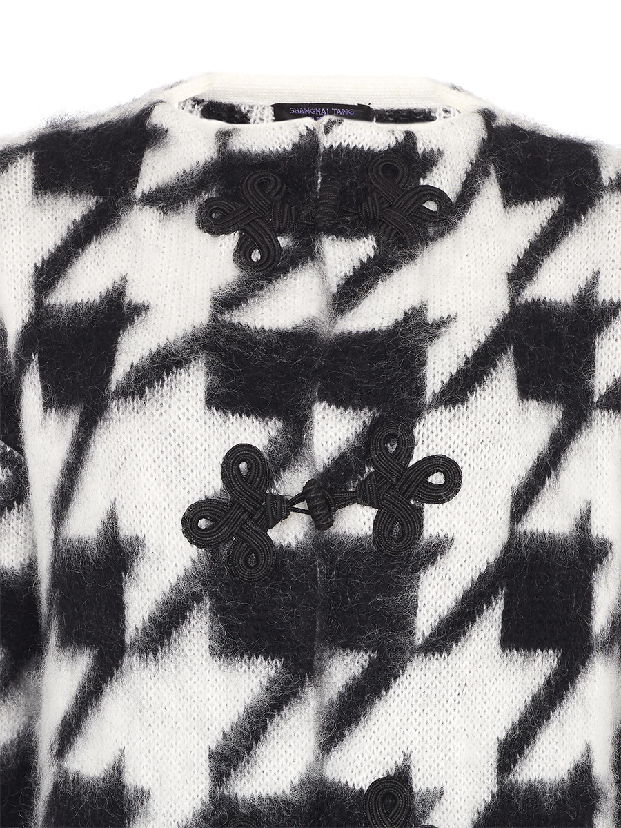 Pied De Poule Knitted Coat