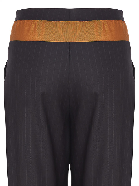 Pinstriped Pants With Waist Contrasting Sash