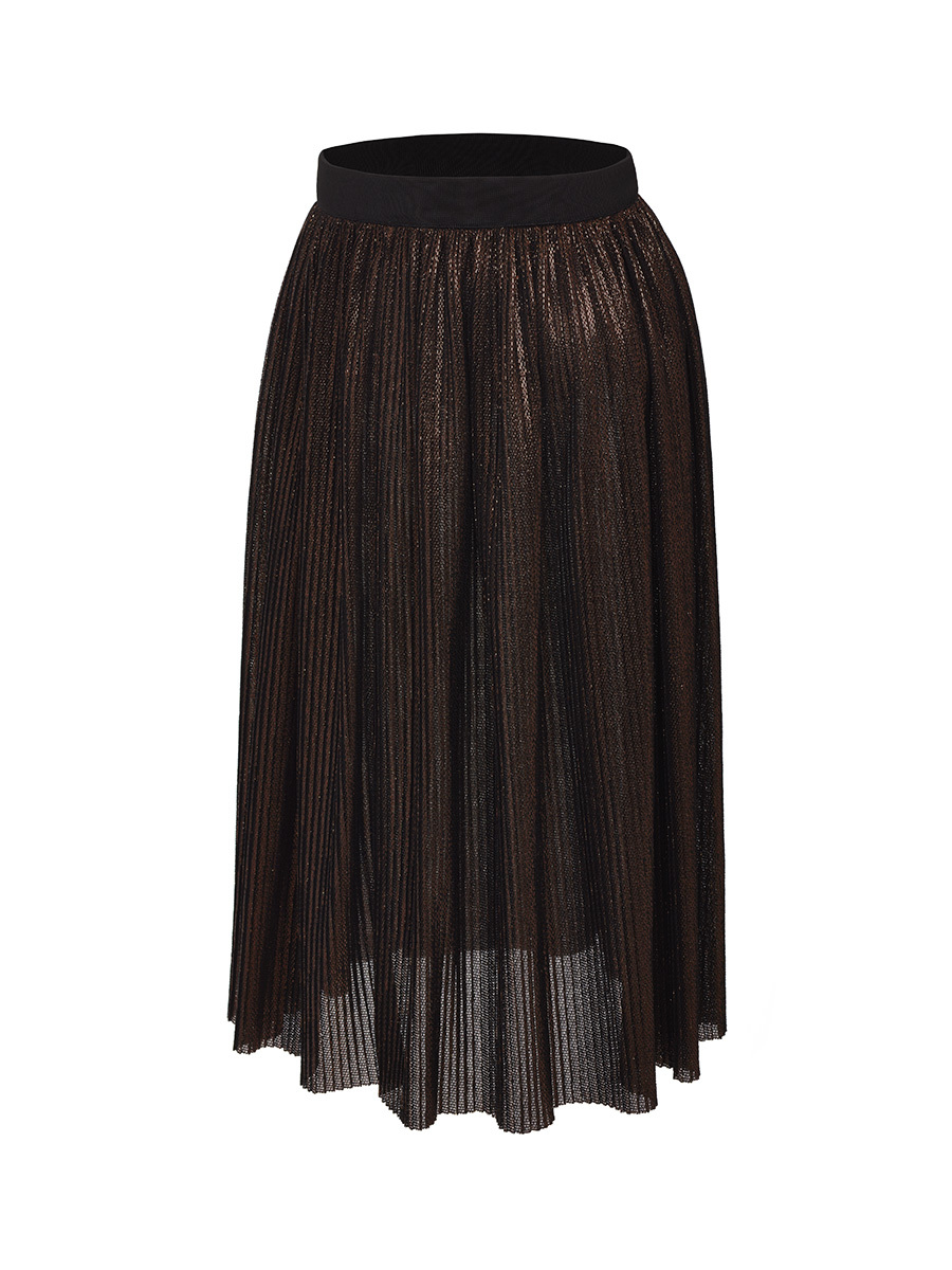 Pleated Lurex Long Skirt