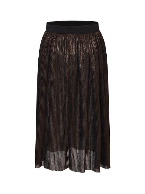 Pleated Lurex Long Skirt