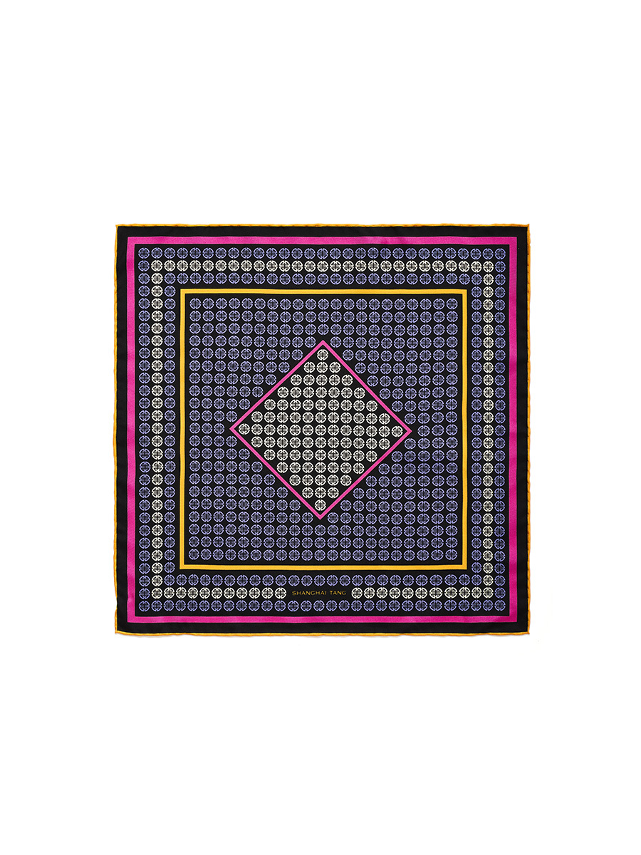 Geometrical Ornamental Print Silk Pocket Square