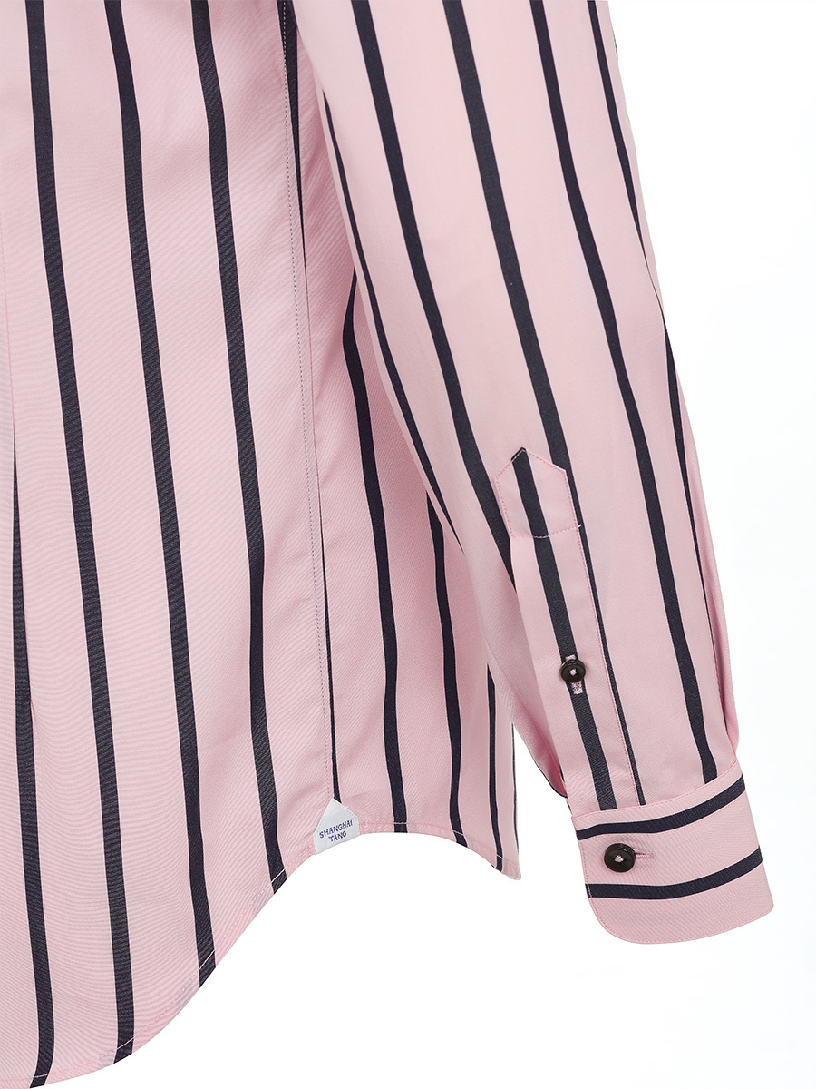 Pink And Blue Striped Cotton Shirt