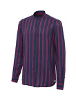 Blue And Fuchsia Striped Linen Shirt