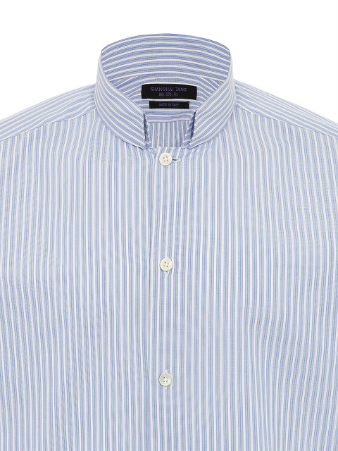 Light Blue And White Striped Cotton Shirt