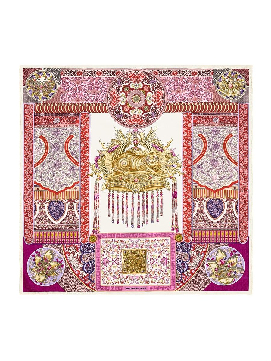Crown Print Silk Foulard