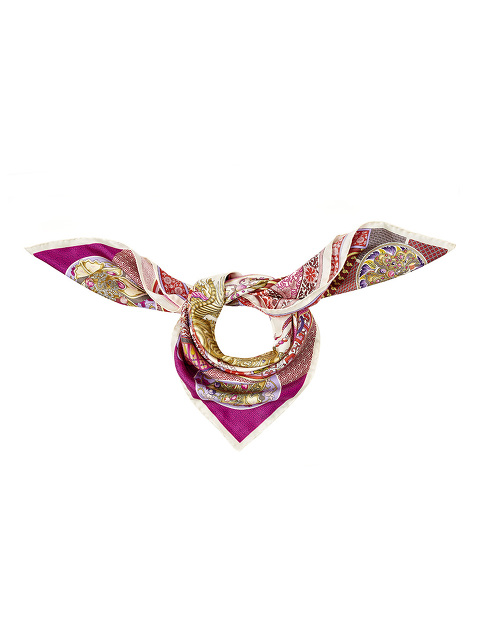 Crown Print Silk Foulard