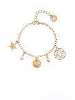 Chain Bracelet With Star And Shou Pendants