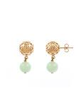 Sphere Earrings With Jade Pendant